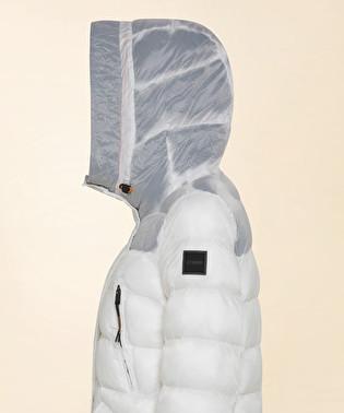 Long down jacket with coloured padding | Dekker