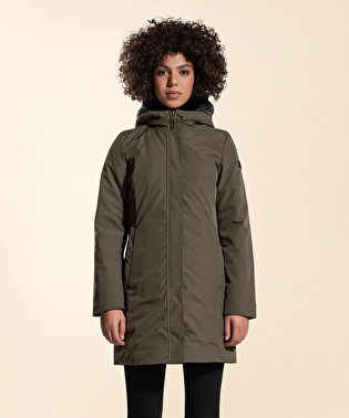 Long and smooth down jacket in double fabric | Dekker