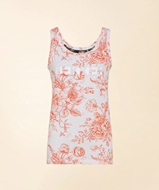 Tank top with floral print and logo | Dekker